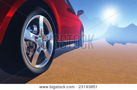 The automobile on a background of a nature