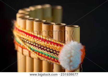 National Latin American Musical Instrument. Wind Instrument Of The Incas. Peruvian Flute. A Handmade