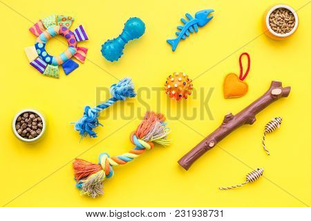 Cats And Dogs Toys And Acessories For Pets On Yellow Background Top View