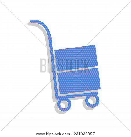 Hand Truck Sign. Vector. Neon Blue Icon With Cyclamen Polka Dots Pattern With Light Gray Shadow On W