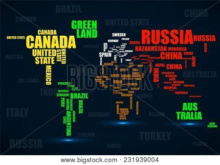 Typography Colorful World Map With Country Names