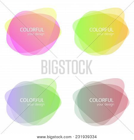 Set Of Round Colorful Vector Shapes. Abstract Vector Banners. Design Elements.