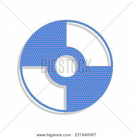 Cd Or Dvd Sign. Vector. Neon Blue Icon With Cyclamen Polka Dots Pattern With Light Gray Shadow On Wh