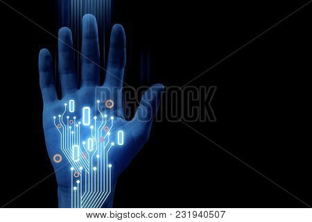 Abstract Hand With Glowing Circuit On Dark Background. Robotics And Cyberspace Concept. 3d Rendering