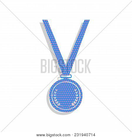 Medal Simple Sign. Vector. Neon Blue Icon With Cyclamen Polka Dots Pattern With Light Gray Shadow On