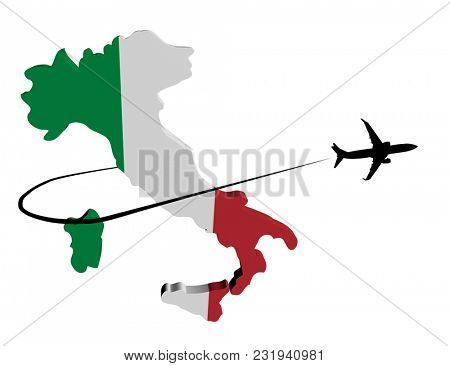 Italy map flag with plane silhouette and swoosh 3d illustration