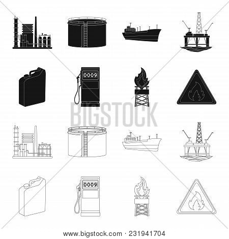 Canister For Gasoline, Gas Station, Tower, Warning Sign. Oil Set Collection Icons In Black, Outline