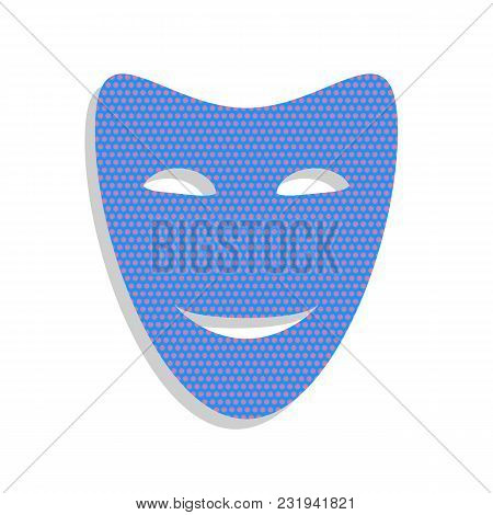 Comedy Theatrical Masks. Vector. Neon Blue Icon With Cyclamen Polka Dots Pattern With Light Gray Sha