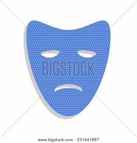 Tragedy Theatrical Masks. Vector. Neon Blue Icon With Cyclamen Polka Dots Pattern With Light Gray Sh