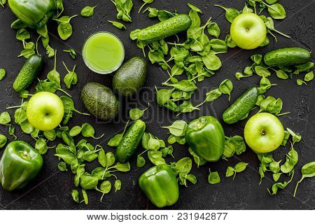 Fitness Greeny Drink With Vegetables On Dark Desk Background Top View Mock-up