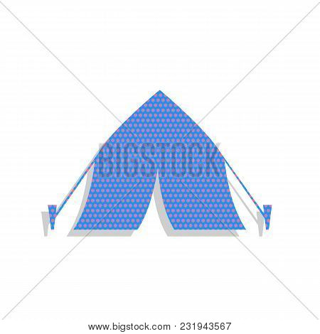 Tourist Tent Sign. Vector. Neon Blue Icon With Cyclamen Polka Dots Pattern With Light Gray Shadow On