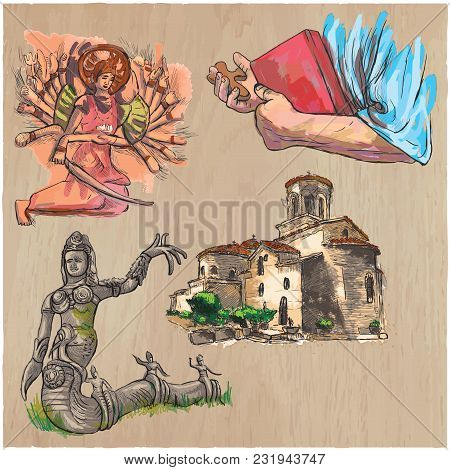 An Hand Drawn Vector Collection Of Spirit Life Around The World. Religious. Religion. Set Of Some Ev