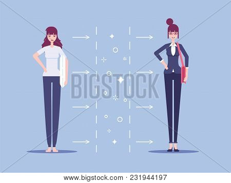 Businesswoman At Home In Sleepwear With Pillow And Businesswoman In Suit With Bag At Work In The Off