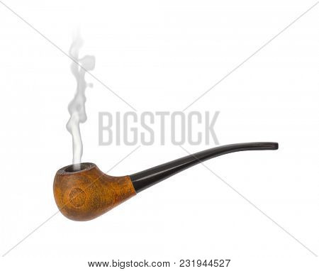 Vintage smoking pipe isolated on white background