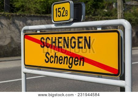 Sign in Schengen Luxembourg - travel background