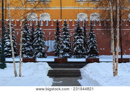 Moscow, Russia - February 14, 2018: Memorial Architectural Ensemble Of The Tomb Of Unknown Soldier I