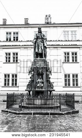 Statue Of King Charles Near Charles Bridge, Prague, Czech Republic