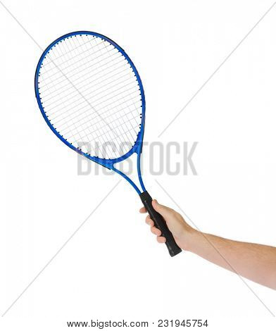 Hand with tennis racket isolated on white background