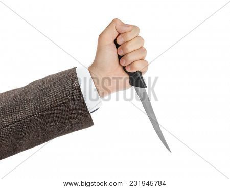 Hand with knife isolated on white background