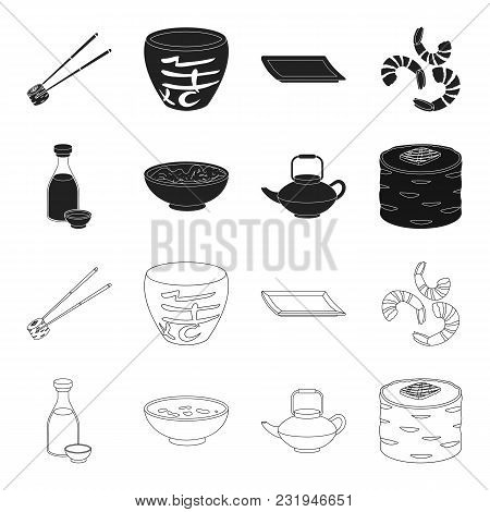 Soy Sauce, Noodles, Kettle.rolls.sushi Set Collection Icons In Black, Outline Style Vector Symbol St