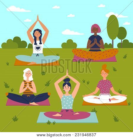 Set beautiful women vector photo free trial bigstock vector set of exercises illustration five women sit on yoga mats outdoors helthy lifestyle sun sky greeting yoga class m4hsunfo