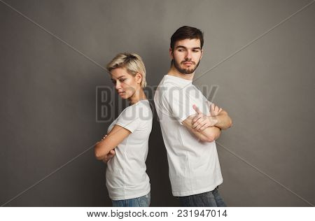 Couple After Arguing. Angry Woman Stand Back To Boyfriend, Copy Space