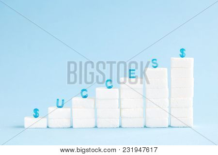 Financial Chart Made Of Sugar Cubes Against Pastel Blue Background Minimal Success Concept.