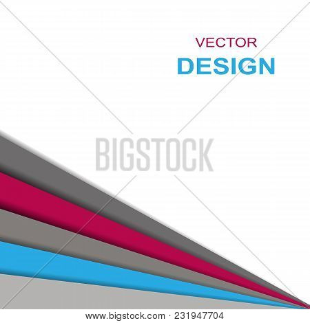 Abstract Geometric White Red Blue Gray Triangle Paper Overlapping Background Vector Illustration.