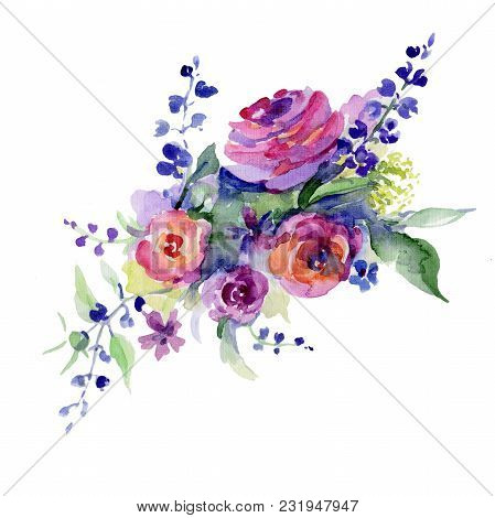 Bouquet Flower In A Watercolor Style Isolated. Full Name Of The Plant: Rose, Rosa. Aquarelle Wild Fl