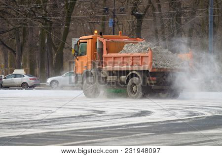 Snow-removal Vehicles Left On City Roads After A Snowfall.