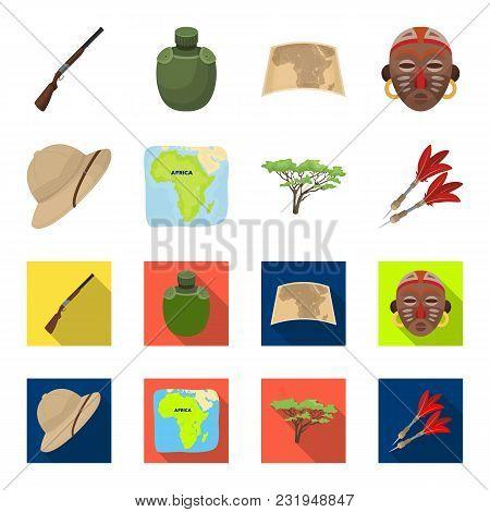 Cork Hat, Darts, Savannah Tree, Territory Map. African Safari Set Collection Icons In Cartoon, Flat