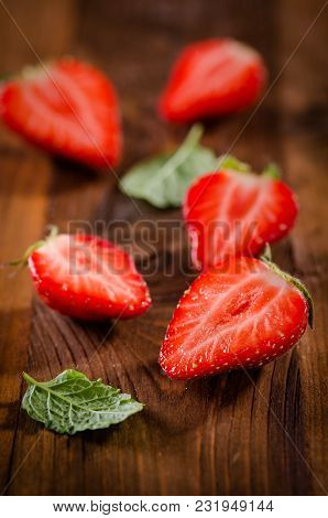 Fresh Ripe Red Strawberries On Wooden Rustic Background
