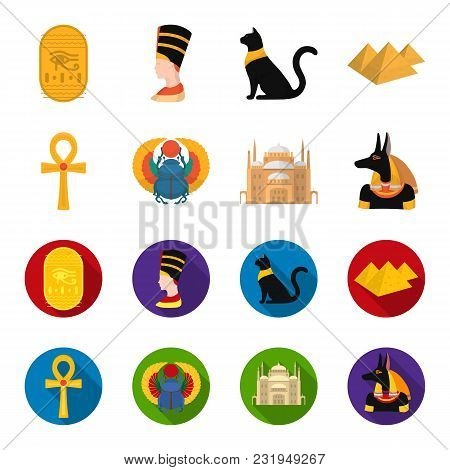 Anubis, Ankh, Cairo Citadel, Egyptian Beetle.ancient Egypt Set Collection Icons In Cartoon, Flat Sty
