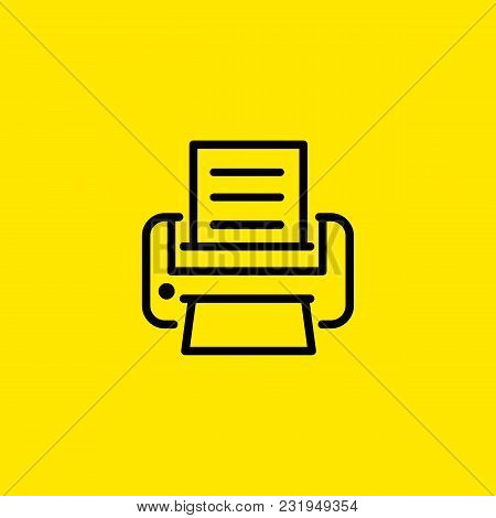 Icon Of Printer With Document. Paper, Print, Copy. Office Equipment Concept. Can Be Used For Topics