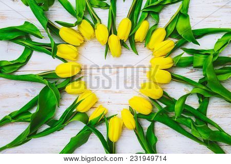 Tulips Overhead On White Wooden Background In Heart Shape. Copy Space