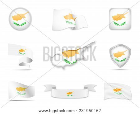 Cyprus Flags Collection. Flags And Contour Map. Vector Illustration