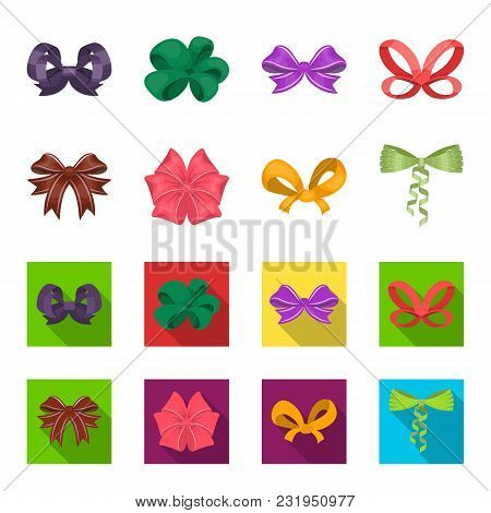 Bow, Ribbon, Decoration, And Other  Icon In Cartoon, Flat Style. Gift, Bows, Node Icons In Set Colle