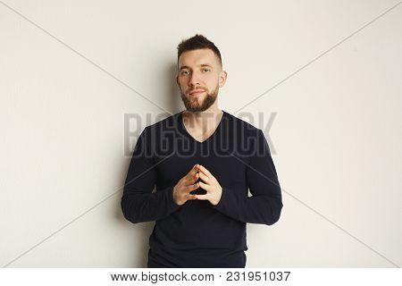 Emotional Man Posing In Studio. Fashion Boy On White Background, Studio Shot, Copy Space, Isolated