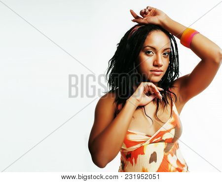 Young Pretty African American Woman Isolated On White Background Happy Smiling, Wearing Bright Shawl