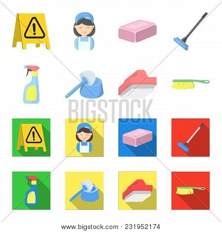Cleaning And Maid Cartoon, Flat Icons In Set Collection For Design. Equipment For Cleaning Vector Sy