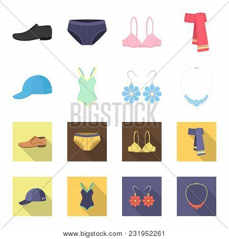 Cap, Earrings, Necklace, Swimsuit. Clothing Set Collection Icons In Cartoon, Flat Style Vector Symbo