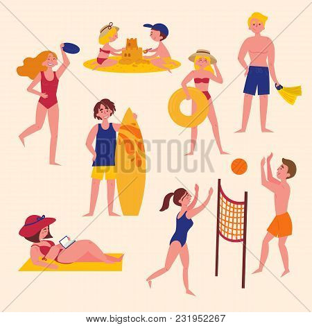Sunny Day On The Beach. Summer Activities On The Beach. Sport And Leisure. Boy, Girl, Man, Woman, Su