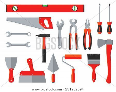 Repair And Construction Vector Tools. Household Toolbox. Equipment Instrument For Construction And H