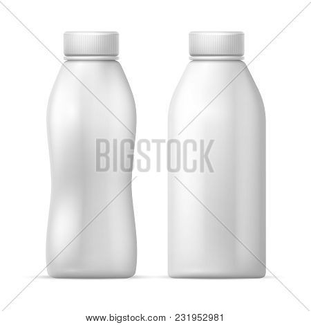 White Blank Plastic Bottle. Vector Packaging Template For Dairy Milk, Drink Yogurt Products. Milk Bo