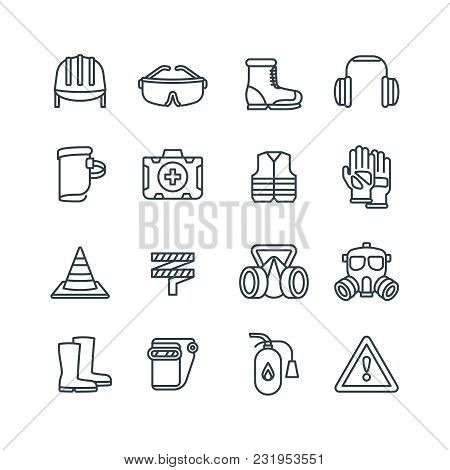 Safety Work Equipment And Protective Clothing Line Vector Icons. Safety Equipment And Protection Res