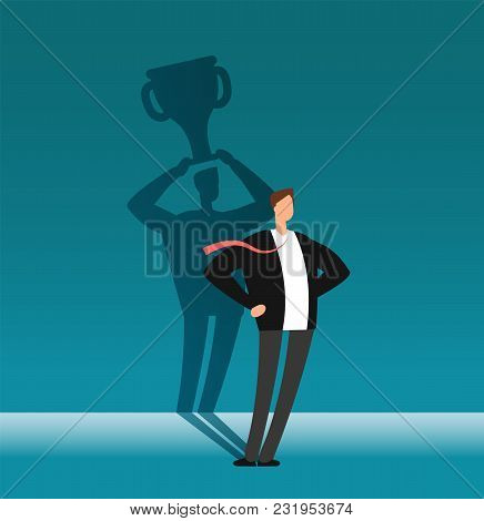 Businessman With Winner Shadow Holding Trophy Cup. Leadership, Achievement And Business Challenge Ve
