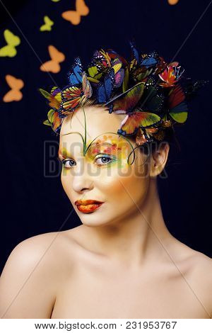 Woman With Summer Creative Make Up Like Fairy Butterfly Closeup Bright Colored Background, Spring Co