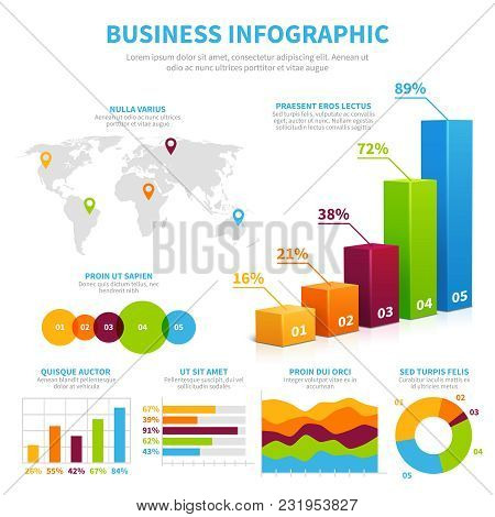 Business Infographic Vector Template With 3d Chart, Graphs And Diagrams. Data Visualization Financia