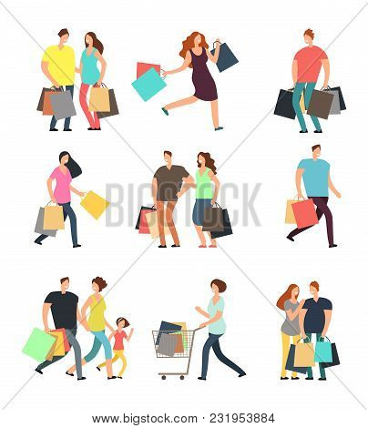 Happy Shopping People. Man, Woman And Shoppers With Gift Boxes And Shopping Bags. Vector Cartoon Cha