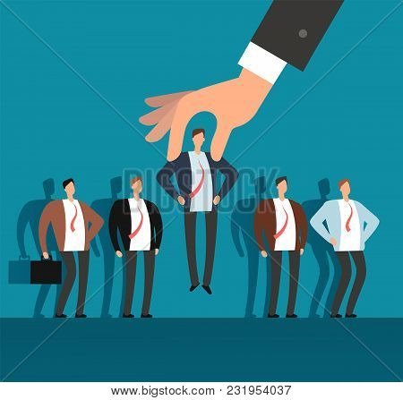 Employer Hand Choosing Man From Selected Group Of People. Recruitment Vector Business Concept. Human